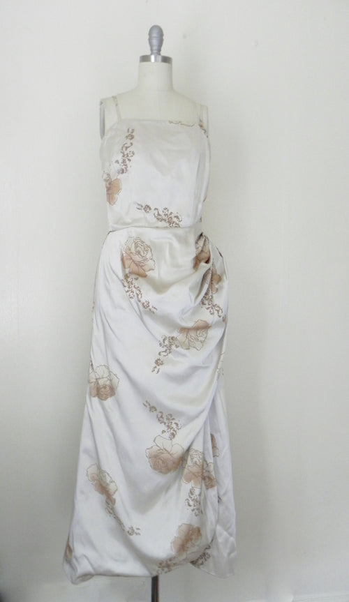 Vintage 1960s-1970s Long Beige Floral Gown - Vintage World Rocks - 2