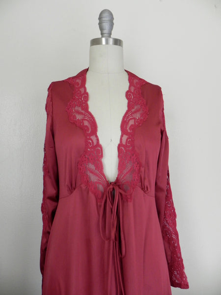 Vintage Lace Floral Ruby Red Lingerie/ Nightgown - Vintage World Rocks - 3