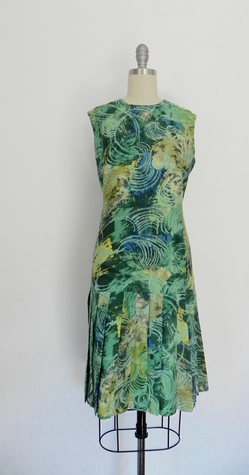 Vintage 1960s Italian Handmade Green Print Dress - Vintage World Rocks - 2