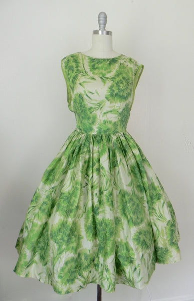 Vintage 1950s Green Floral Silk Sleeveless Dress - Vintage World Rocks - 2