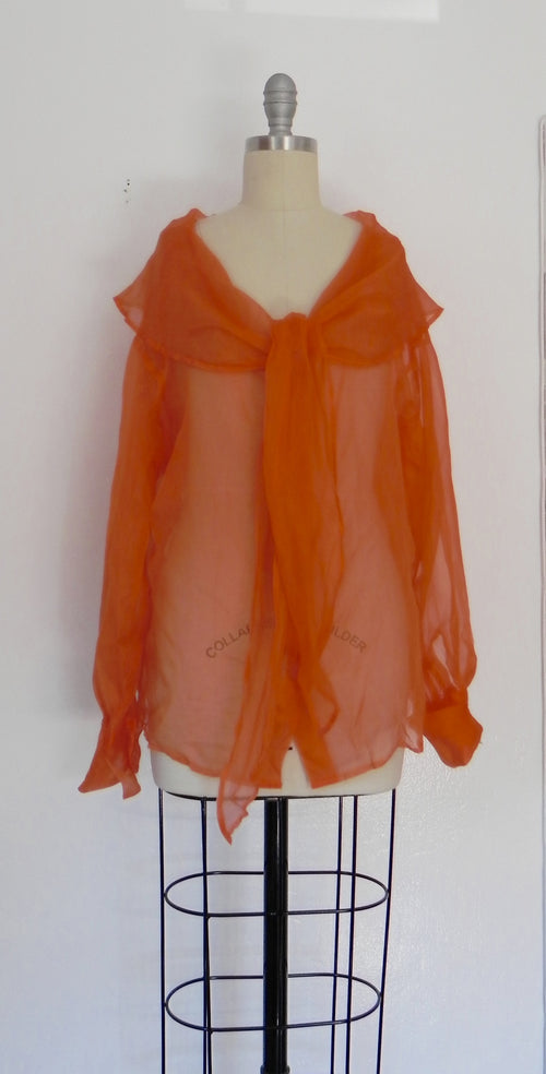 Vintage 1980s Italian Orange Silk Top - Vintage World Rocks - 2