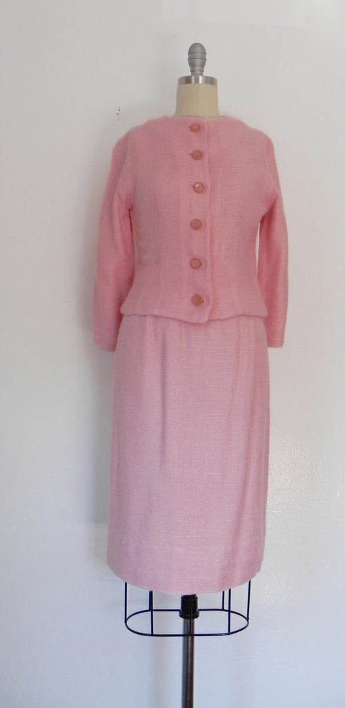 Vintage 1960s Pink 2 Piece ANR JR Jacket and Skirt Set - Vintage World Rocks - 2