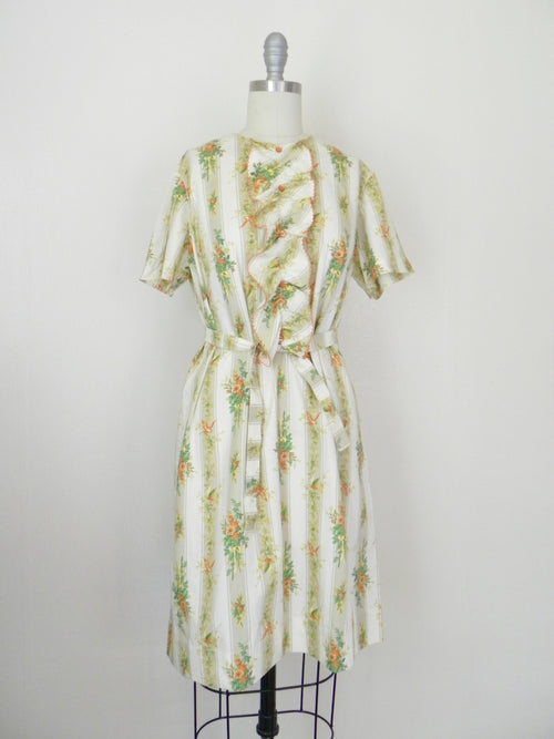 Vintage 1960s Bird Print Cotton Dress - Vintage World Rocks - 2