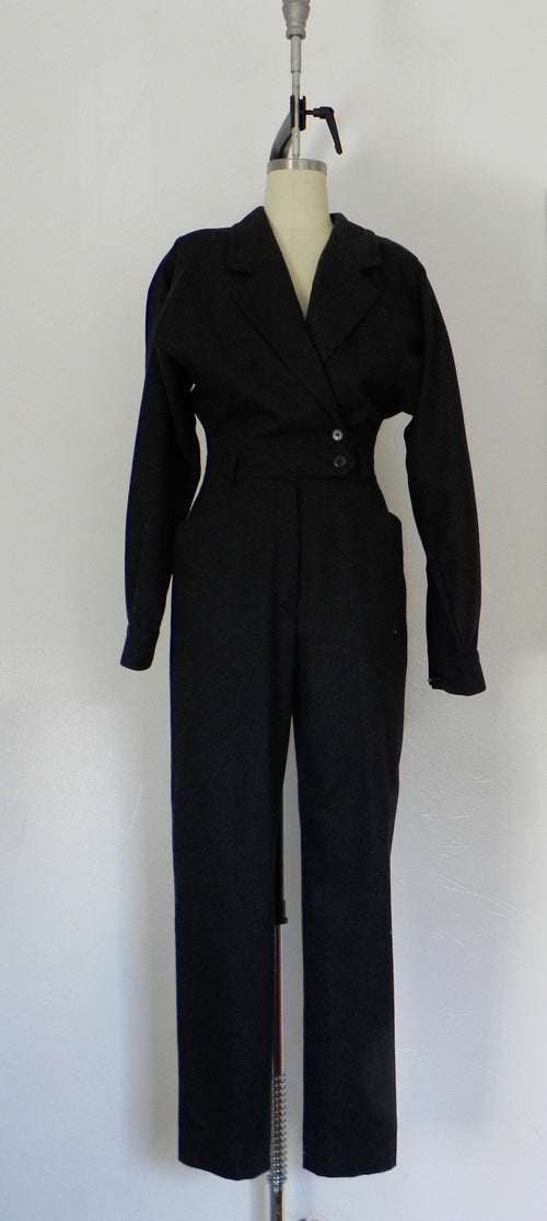 Escada Dark Grey Wool Jump Suit - Vintage World Rocks - 2