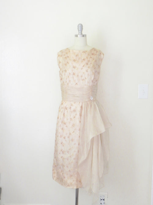 Vintage 1950s Wiggle Cocktail Organza Embroidered Dress - Vintage World Rocks - 2