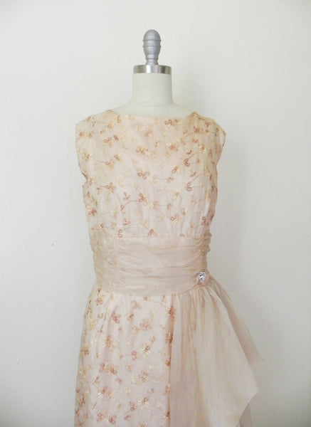 Vintage 1950s Wiggle Cocktail Organza Embroidered Dress - Vintage World Rocks - 4