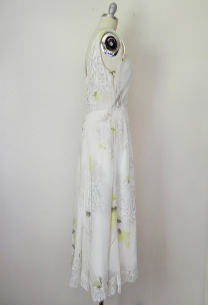 Vintage Inspired Rickie Freeman Couture Silk Chiffon Print Dress. - Vintage World Rocks - 5