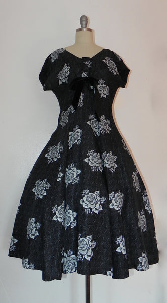 Vintage 1950s Black Heart Floral Bodice Princess Circle Dress - Vintage World Rocks - 2