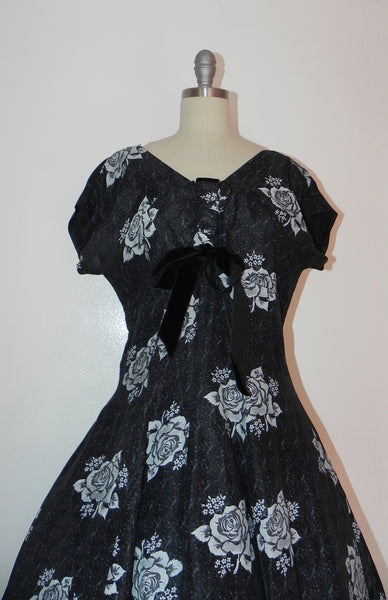 Vintage 1950s Black Heart Floral Bodice Princess Circle Dress - Vintage World Rocks - 3