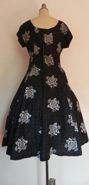 Vintage 1950s Black Heart Floral Bodice Princess Circle Dress - Vintage World Rocks - 5