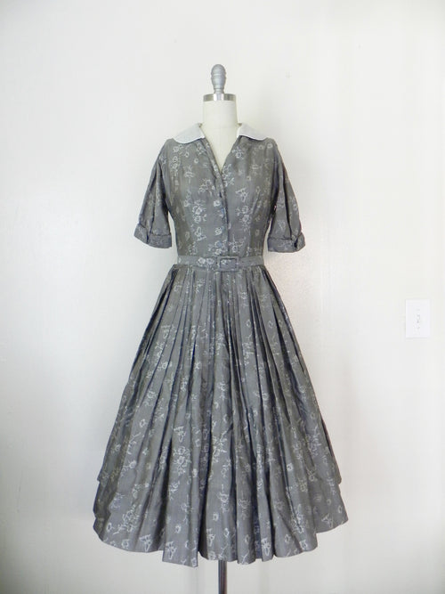 Vintage  1950's Patterned Silk Dress in Grey by R & K Original - Vintage World Rocks - 2
