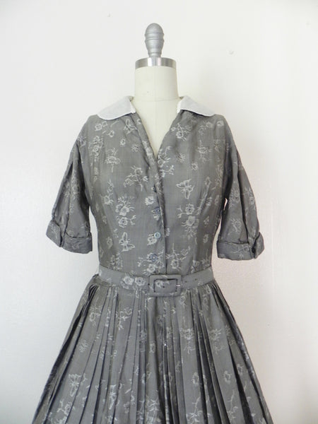 Vintage  1950's Patterned Silk Dress in Grey by R & K Original - Vintage World Rocks - 3