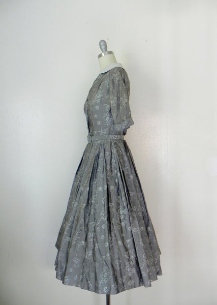 Vintage  1950's Patterned Silk Dress in Grey by R & K Original - Vintage World Rocks - 4