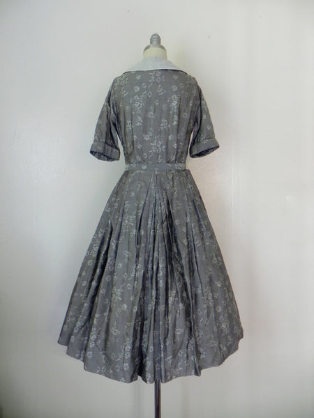 Vintage  1950's Patterned Silk Dress in Grey by R & K Original - Vintage World Rocks - 5