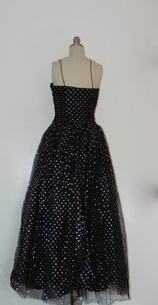 Vintage 1950s Black and Silver Dot Evening Gown - Vintage World Rocks - 4