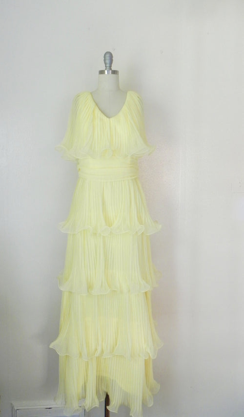 Vintage 1950's Miss Elliette, Yellow Ruffled Chiffon Dress - Vintage World Rocks - 2