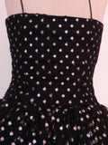 Vintage 1950s Black and Silver Dot Evening Gown - Vintage World Rocks - 5