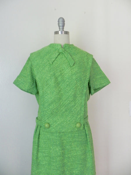 Vintage 1960's Green Tweed Dress by R & K Originals - Vintage World Rocks - 3