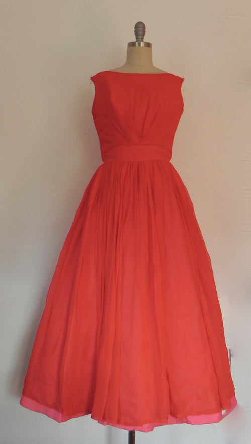 Vintage 1950s Red Chiffon  Flare Sleeveless Evening Gown/ Dress - Vintage World Rocks - 2