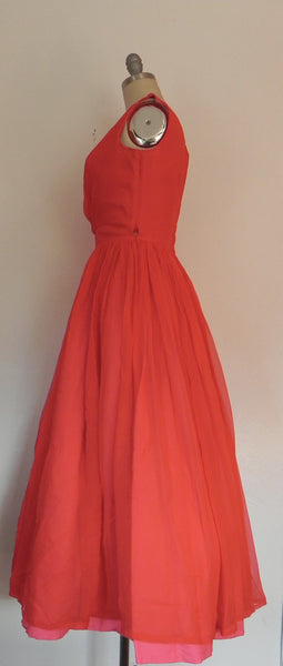 Vintage 1950s Red Chiffon  Flare Sleeveless Evening Gown/ Dress - Vintage World Rocks - 6