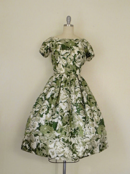 Vintage 1950s Silk Floral Green Cocktail Dress - Vintage World Rocks - 2