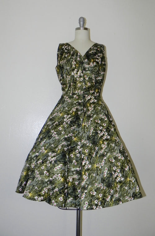 Vintage 1950s Green Floral Sleeveless Dress - Vintage World Rocks - 2