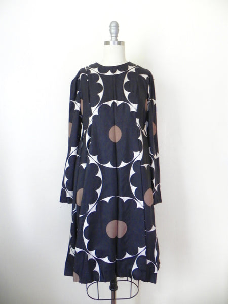 Vintage 1970s Rodrigues for Peter Clements Black Abstract Dress - Vintage World Rocks - 2