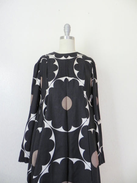 Vintage 1970s Rodrigues for Peter Clements Black Abstract Dress - Vintage World Rocks - 3