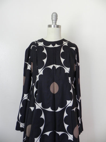 Vintage 1970s Rodrigues for Peter Clements Black Abstract Dress - Vintage World Rocks - 4