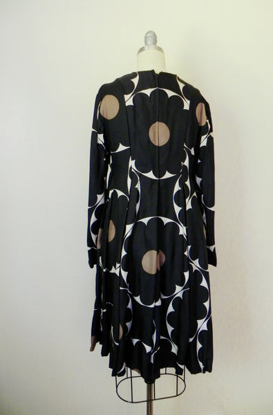 Vintage 1970s Rodrigues for Peter Clements Black Abstract Dress - Vintage World Rocks - 6