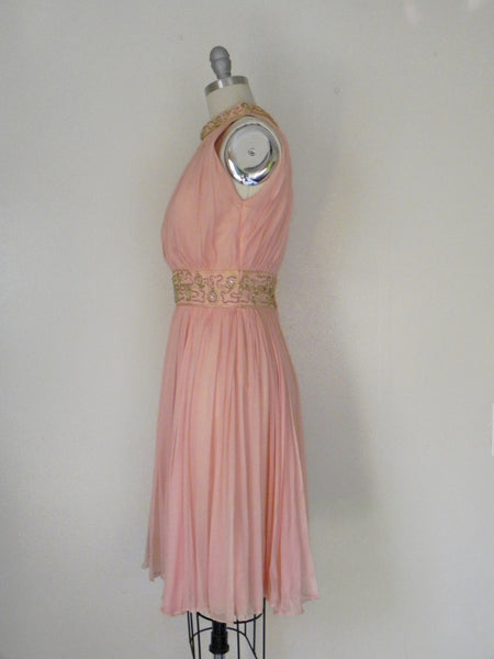 Vintage 1960s Peach Silk Chiffon Party Dress - Vintage World Rocks - 5