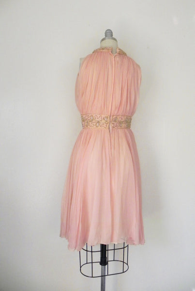 Vintage 1960s Peach Silk Chiffon Party Dress - Vintage World Rocks - 6