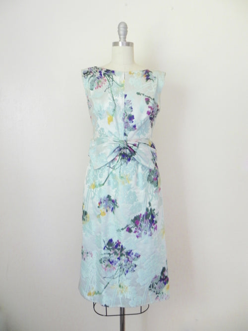 Vintage 1960s Blue Abstract Floral Sleeveless Dress - Vintage World Rocks - 2