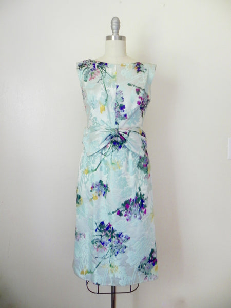 Vintage 1960s Blue Abstract Floral Sleeveless Dress - Vintage World Rocks - 3
