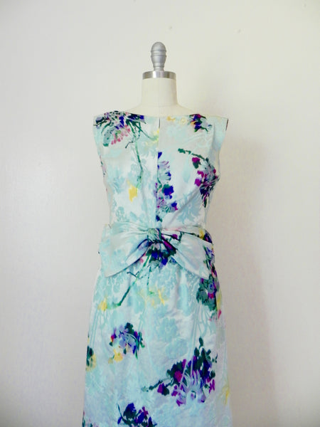 Vintage 1960s Blue Abstract Floral Sleeveless Dress - Vintage World Rocks - 4
