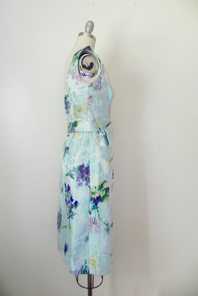 Vintage 1960s Blue Abstract Floral Sleeveless Dress - Vintage World Rocks - 5