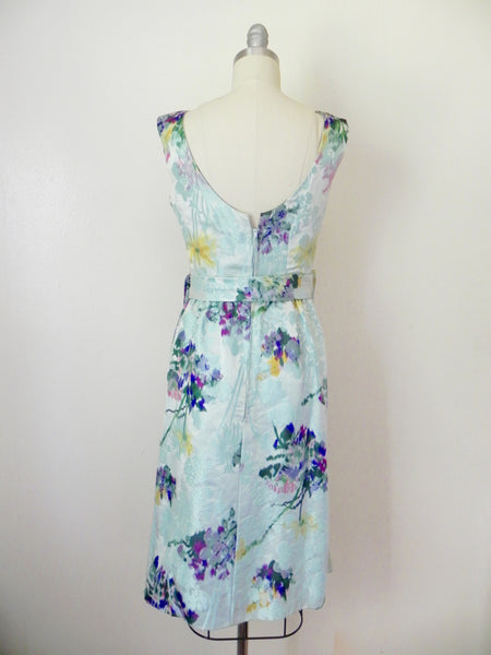Vintage 1960s Blue Abstract Floral Sleeveless Dress - Vintage World Rocks - 6