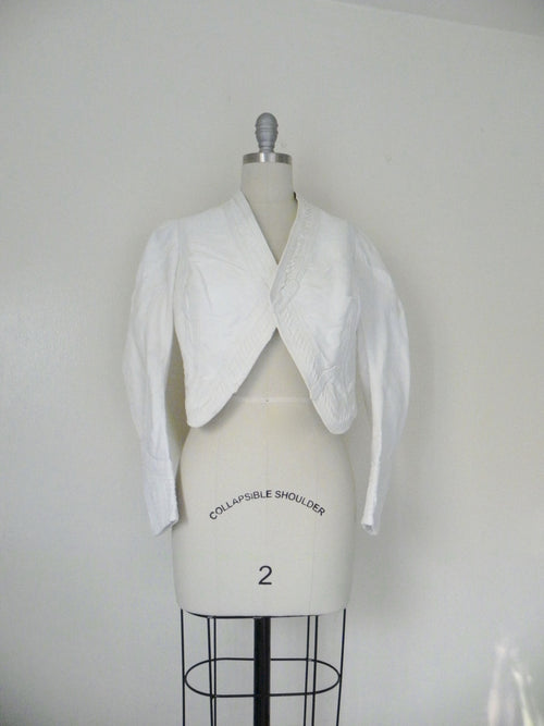 Vintage Edwardian 1900s 1910 White Faille Bolero Cotton Jacket - Vintage World Rocks - 2