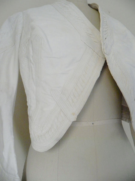 Vintage Edwardian 1900s 1910 White Faille Bolero Cotton Jacket - Vintage World Rocks - 3