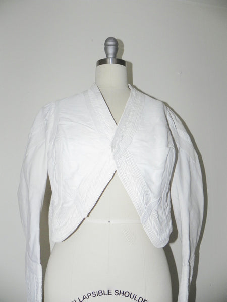 Vintage Edwardian 1900s 1910 White Faille Bolero Cotton Jacket - Vintage World Rocks - 4