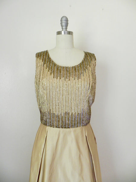Vintage 1980s Rizik Brothers Gold Sequin Evening Gown - Vintage World Rocks - 3