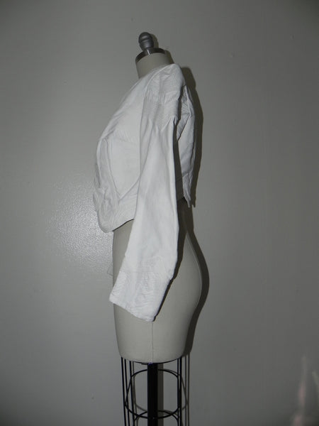 Vintage Edwardian 1900s 1910 White Faille Bolero Cotton Jacket - Vintage World Rocks - 7