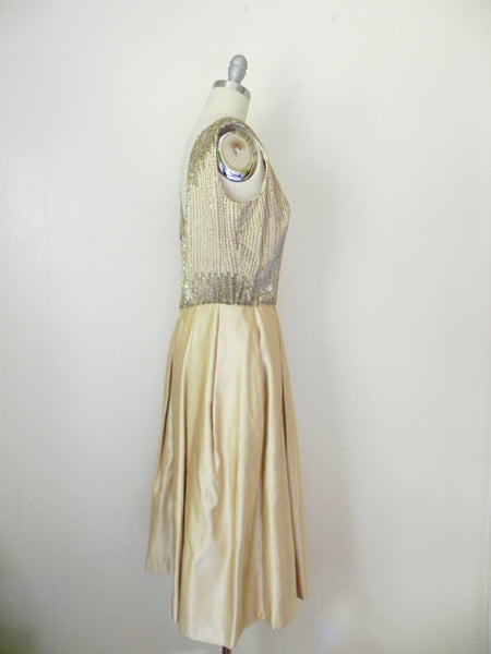 Vintage 1980s Rizik Brothers Gold Sequin Evening Gown - Vintage World Rocks - 4