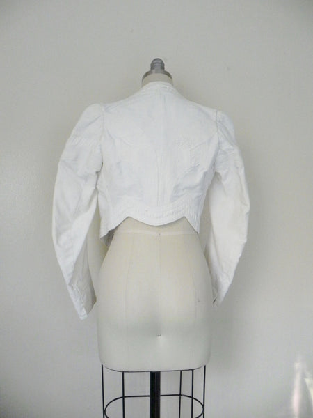Vintage Edwardian 1900s 1910 White Faille Bolero Cotton Jacket - Vintage World Rocks - 8
