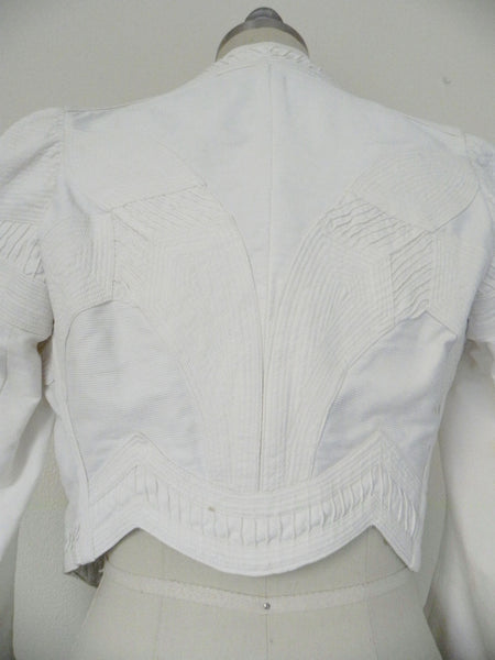 Vintage Edwardian 1900s 1910 White Faille Bolero Cotton Jacket - Vintage World Rocks - 9