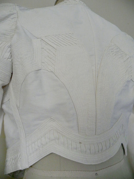 Vintage Edwardian 1900s 1910 White Faille Bolero Cotton Jacket - Vintage World Rocks - 10
