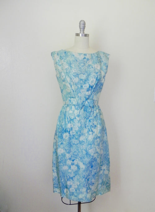 Vintage 1950s Saks Fifth Avenue Floral Blue Brocade Dress - Vintage World Rocks - 2