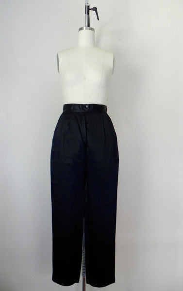 Vintage 1980s Black Acetate Silk Crop Top and Pants Set - Vintage World Rocks - 6