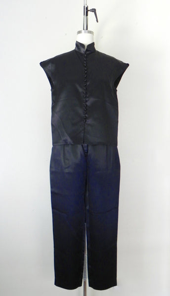 Vintage 1980s Black Acetate Silk Crop Top and Pants Set - Vintage World Rocks - 3