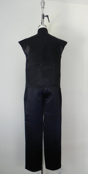 Vintage 1980s Black Acetate Silk Crop Top and Pants Set - Vintage World Rocks - 5